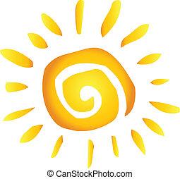 nyár, csípős, elvont, nap