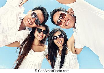 nyár, csoport, emberek, fiatal, bír, Móka, Nap, boldog