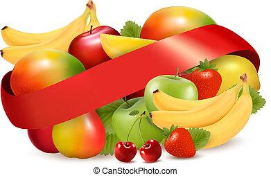 nyár, csoport, ribbon., gyümölcs, tropikus, vektor