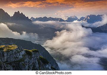 nyár, dolomites, alps., hegyek, ködös, napkelte, olasz