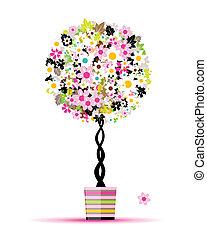 nyár, edény, fa, tervezés, virágos, -e
