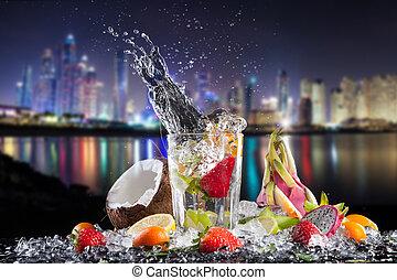 nyár, egzotikus, iszik, noha, loccsanás, éjjel, város