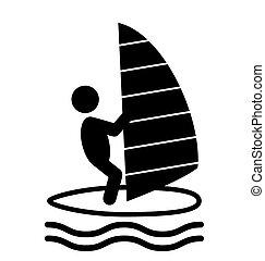 nyár, emberek, ikonok, elszigetelt, lakás, víz, szörfözik, pictograms, fehér, sport