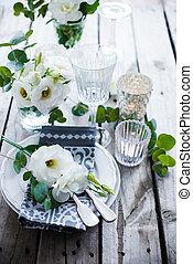 nyár, esküvő, asztal, dekoráció
