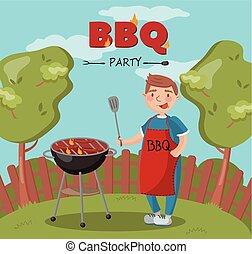 nyár, főzés, grill, szünidő, lángoló, fiatal, ábra, észak, vektor, grillsütő, backyard buli, kerti-parti, ember