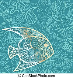 nyár, fish, háttér, arany