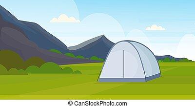 nyár, fogalom, kempingezés, terület, táborhely, tábor, szünidő, lakás, hegyek, háttér, természet, horizontális, folyó, utazás, táj, sátor