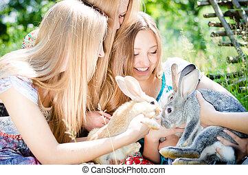nyár, gyáva emberek, kert, leány, kellemes, fiatal, két, zöld háttér, szabadban, mosolygós, meglehetősen, barátok, játék, nők