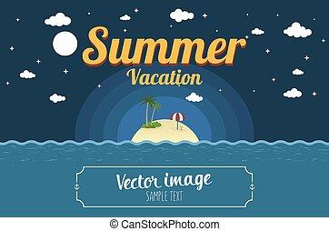 nyár, háttér, sziget, ábra, vektor, szavak, éjszaka tengerpart, tenger