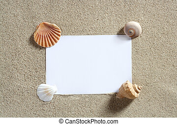 nyár, hely, szünidő, homok papír, tiszta, másol, tengerpart