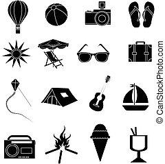 nyár holiday, állhatatos, ikonok