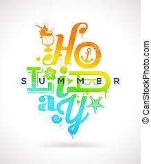 nyár holidays, gépel, tervezés