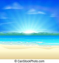 nyár, homok tengerpart, háttér