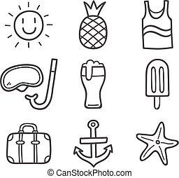 nyár, icons., szórakozottan firkálgat
