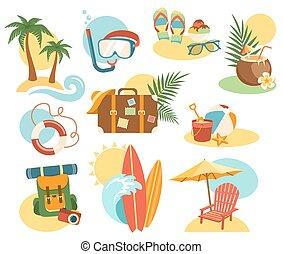 nyár, ikonok, elnevezés, elszigetelt, gyűjtés, szünidő, cégtábla, fehér