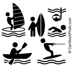 nyár, ikonok, emberek, elszigetelt, lakás, víz, pictograms, jottányi, sport