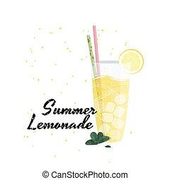 nyár, illustration., limonádé, gyakorlatias, vektor, pohár., friss