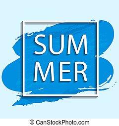 nyár, kék, ábra, vektor, keret, white háttér