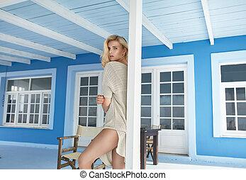 nyár, kép, hotel, fiatal, terasz, leány