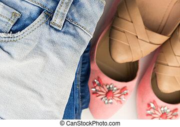 nyár, különféle, cipők, női
