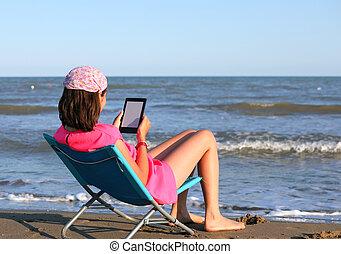 nyár, kevés, ebook, felolvas, leány