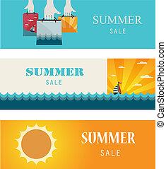 nyár, kiárusítás, szüret, banners/cards.