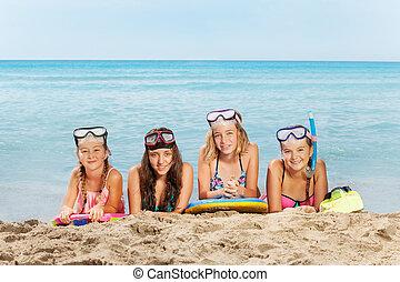nyár, lány, szünidő, négy, tenger, boldog