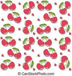 nyár, lakás, cseresznye, csepp, pattern., seamless, gyümölcs, háttér, friss, árnyék