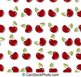 nyár, lakás, cseresznye, pattern., seamless, gyümölcs, háttér, friss