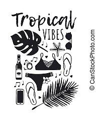 nyár, mód, művészet, work., drawing., pattern., doddle, ábra, kéz, tropikus, háttér., vektor, művészi, tinta, húzott, kifogásol, kreatív, évad