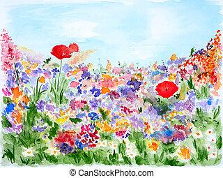 nyár, menstruáció, alatt, kert, vízfestmény