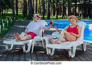 nyár, modern, nagyanya, nagyapa, koktél, ivás