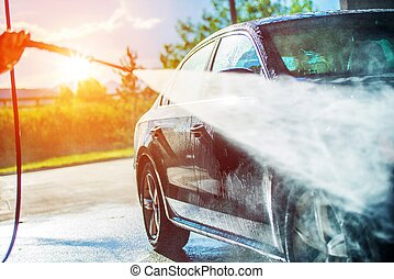 nyár, mosás, autó