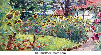 nyár, motívum, festmény