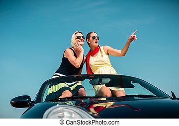 nyár, nő, autó út, átváltható, birtoklás