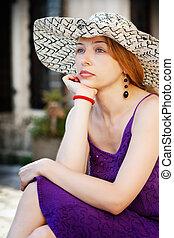 nyár, nő, lövés, mód, kalap