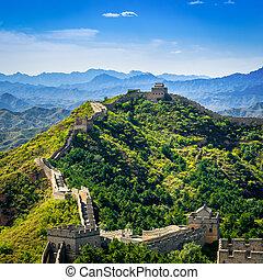 nyár, nagy közfal, szakasz, jinshanling, nap, kína