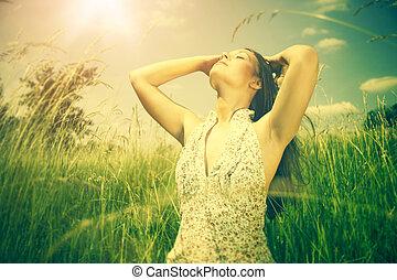 nyár, nap, alatt, fényes, női, szabadban, portré