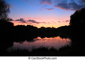 nyár, napnyugta, képben látható, tó