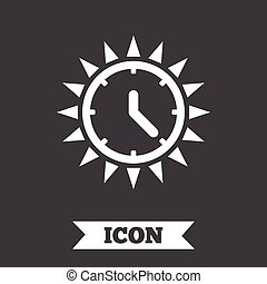 nyár, napos, saving., day., napvilág, idő, icon.