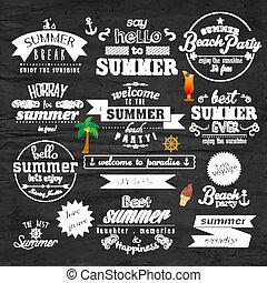 nyár, nyomdászat, vektor, tervezés, ünnep, jelvény