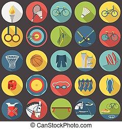 nyár, olimpiai, állhatatos, lakás, sport, rész, 2, ikon