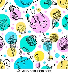 nyár, pattern., seamless