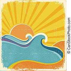 nyár, poster., ábra, csípős, vektor, tenger, lenget, nap, táj
