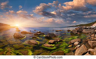 nyár, seascape., napkelte