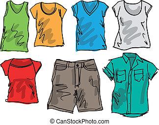 nyár, skicc, collection., ábra, vektor, öltözet