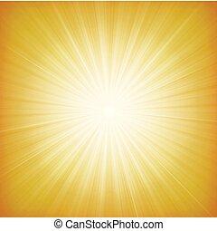 nyár, starburst, háttér, nap