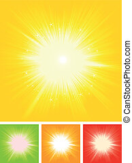 nyár, starburst, nap