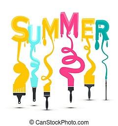 nyár, színes, cím, söpör, vektor, tervezés