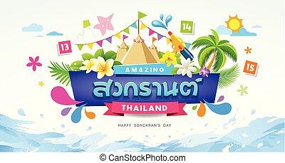 nyár, színes, fesztivál, víz, songkran, bámulatos, loccsanás, thaiföld, transzparens